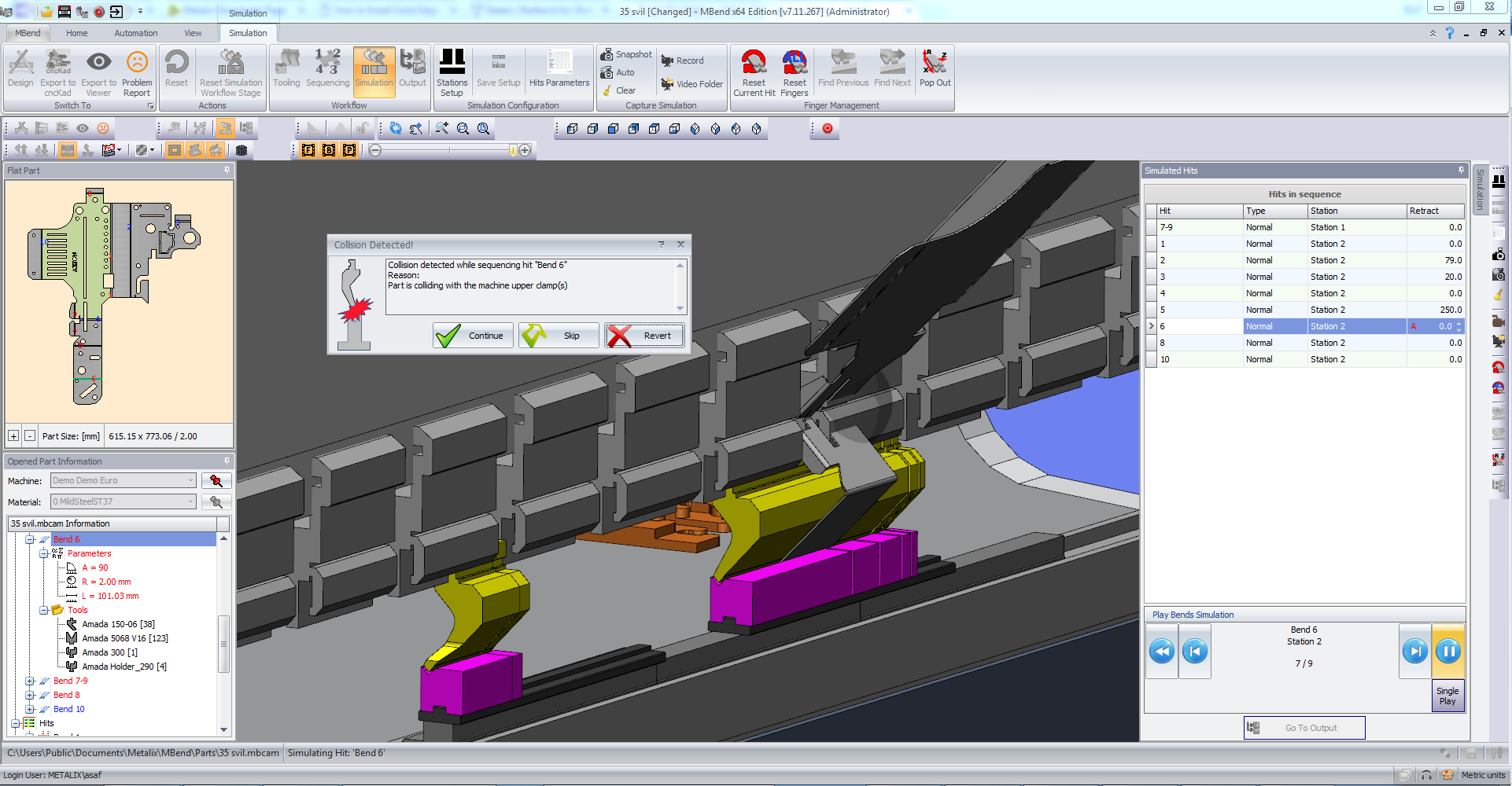 Simulating bends: MBend collision testing for all machine parts