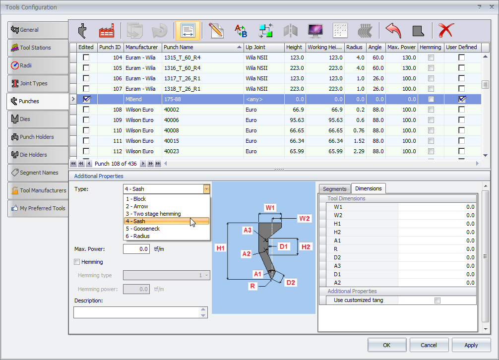 MBend Tooling: Parametric Tool Creation in MBend Tool Library