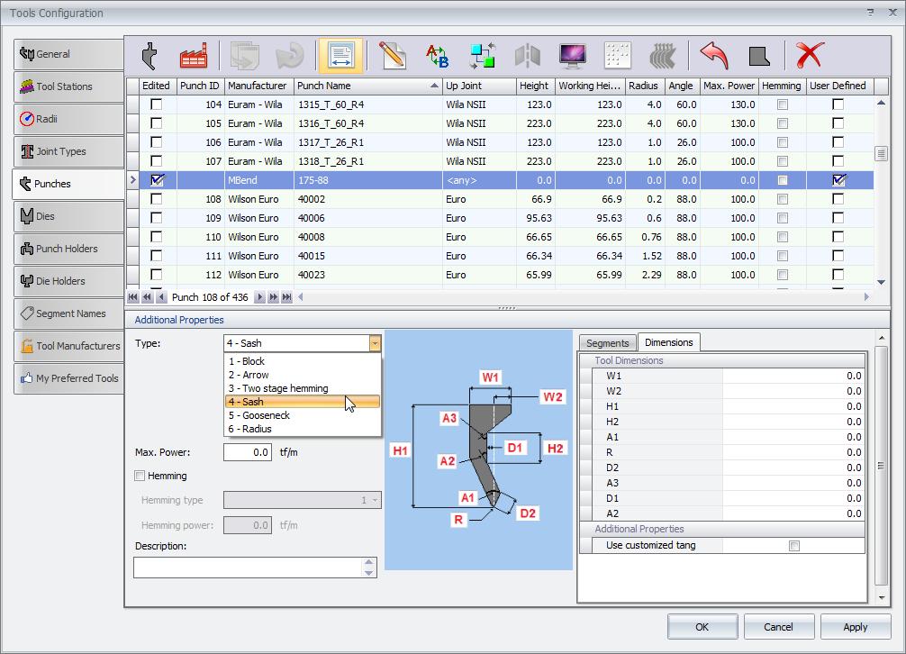 Wyposażanie w narzędzia w MBend: parametryczne tworzenie narzędzi w bibliotece narzędzi