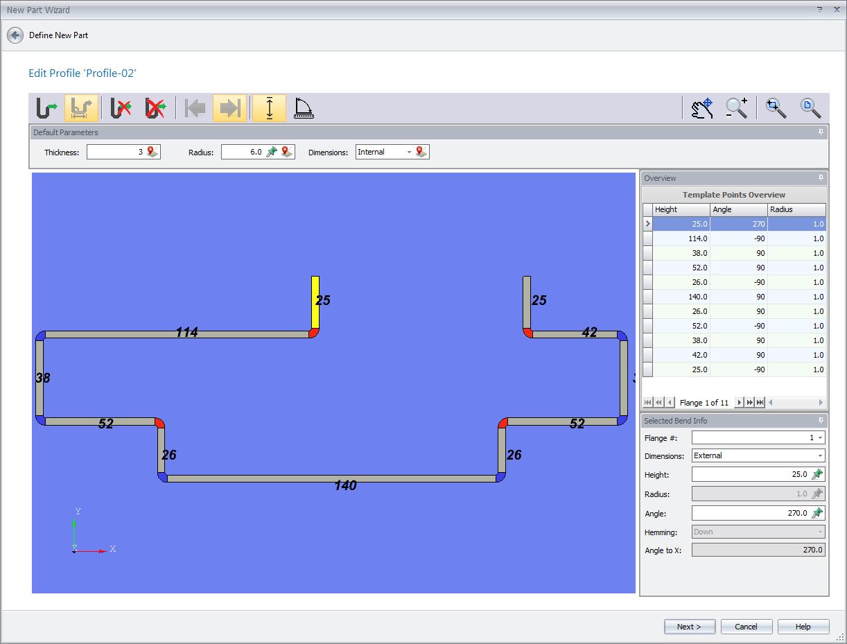 Diseño de piezas: ejemplo de perfil diseñado en MBend