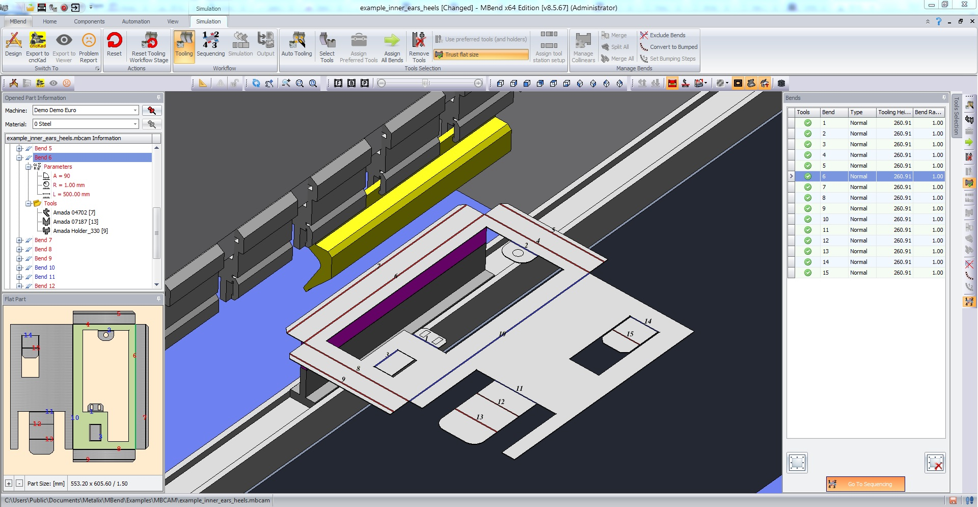 3D Simulation of Sheet Metal Part in MBend