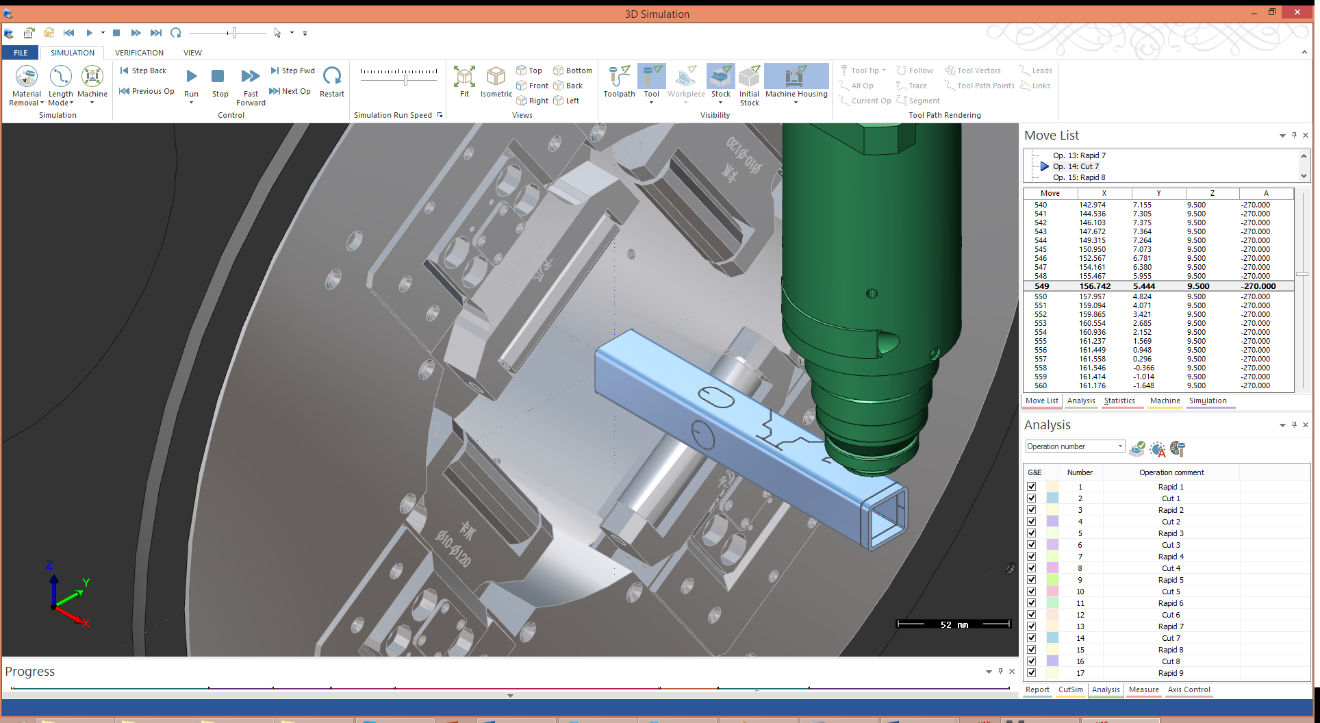 3D Simulation of Tube Cutting